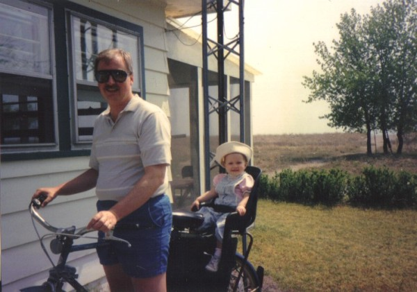 Annie and Dad on bikes
